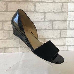 Bandolino Greta Black Wedge Heels Sz 8M